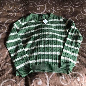 Sage Green and White Striped Ralph Lauren Sweater